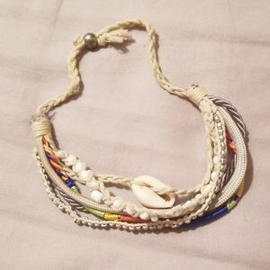 Multi-strand island shell ankle bracelet